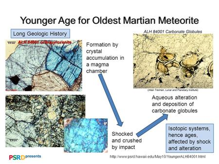 Younger Age for Oldest Martian MeteoriteYounger Age for Oldest Martian Meteorite Long Geologic History.