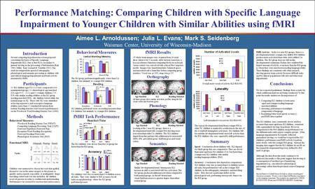 Aimee L. Arnoldussen; Julia L. Evans; Mark S. Seidenberg Performance Matching: Comparing Children with Specific Language Impairment to Younger Children.