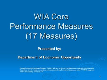 1 WIA Core Performance Measures (17 Measures) Presented by: Department of Economic Opportunity An equal opportunity employer/program. Auxiliary aids and.