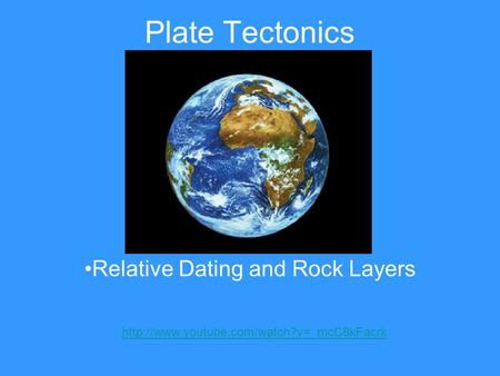 Plate Tectonics Relative Dating and Rock Layers