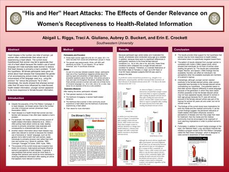 """His and Her"" Heart Attacks: The Effects of Gender Relevance on Women's Receptiveness to Health-Related Information Abigail L. Riggs, Traci A. Giuliano,"