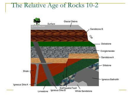 The Relative Age of Rocks 10-2. Place in order from youngest to oldest A B C D EF.
