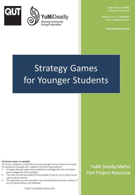 Strategy Games for Younger Students