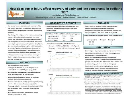 For cases of severe pediatric traumatic brain injury (TBI), age at injury is positively correlated with speech outcome after 12 months as measured by Percentage.