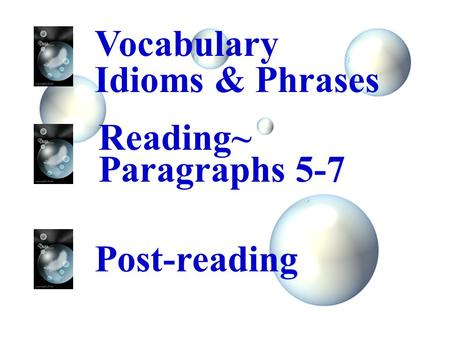 Vocabulary Idioms & Phrases Reading~ Paragraphs 5-7 Post-reading.