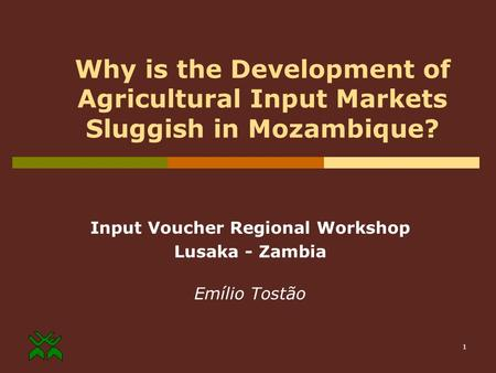 1 Why is the Development of Agricultural Input Markets Sluggish in Mozambique? Input Voucher Regional Workshop Lusaka - Zambia Emílio Tostão.