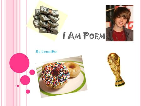 I A M P OEM By Jennifer. I A M I am athletic and creative I wonder why the water is blue I hear whispers when I am alone I see a world made of doughnuts.