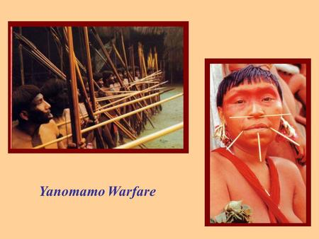 Yanomamo Warfare. YANOMAMO WARFARE A constant cannot explain a variable. Proximate vs. Ultimate cause Positive vs. Negative feedback systems Resource.