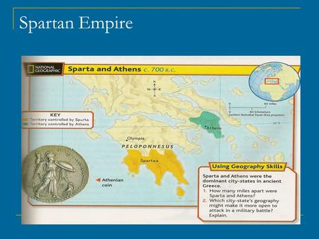 Spartan Empire. Sparta Aprox. 950 BC to 300 BC Founded by Dorians Invaded city of Peloponnesus Population growth = territory expansion Helots (HEH – luhts)