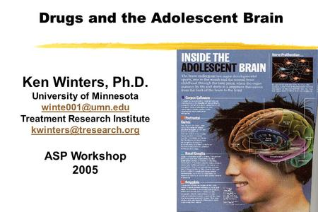 Drugs and the Adolescent Brain Ken Winters, Ph.D. University of Minnesota Treatment Research Institute ASP Workshop.