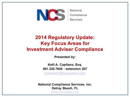 Investment Adviser Compliance National Compliance Services, Inc.