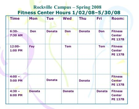 Fitness Center Hours 1/02/08–5/30/08 Rockville Campus – Spring 2008 TimeMonTueWedThuFriRoom: 6:30- 7:30 AM DonDonata DonDonata DonFitness Center PE 137B.