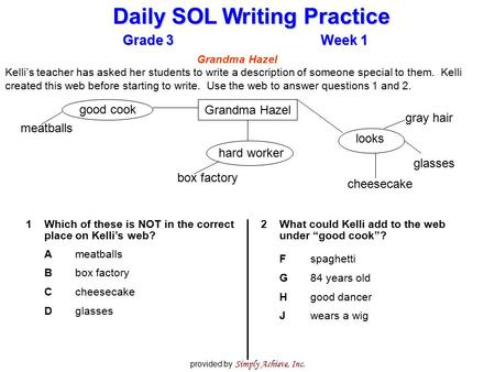 Grade 3Week 1 Daily SOL Writing Practice provided by Simply Achieve, Inc. 1Which of these is NOT in the correct place on Kelli's web? Ameatballs Bbox factory.