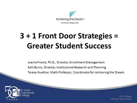 3 + 1 Front Door Strategies = Greater Student Success Joanie Friend, Ph.D., Director, Enrollment Management Kelli Burns, Director, Institutional Research.