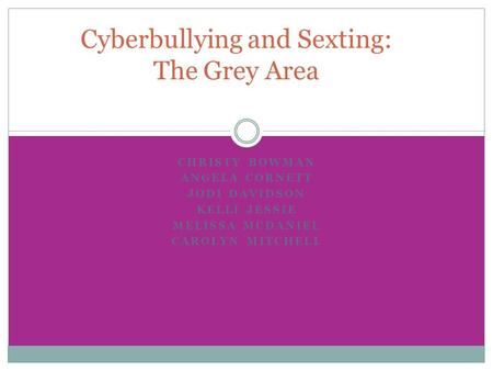 CHRISTY BOWMAN ANGELA CORNETT JODI DAVIDSON KELLI JESSIE MELISSA MCDANIEL CAROLYN MITCHELL Cyberbullying and Sexting: The Grey Area.