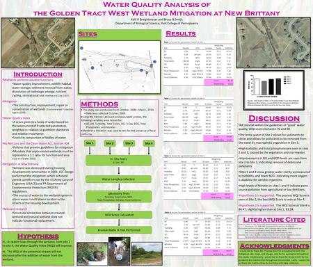 Water Quality Analysis of the Golden Tract West Wetland Mitigation at New Brittany Kelli R Braightmeyer and Bruce B Smith Department of Biological Science,