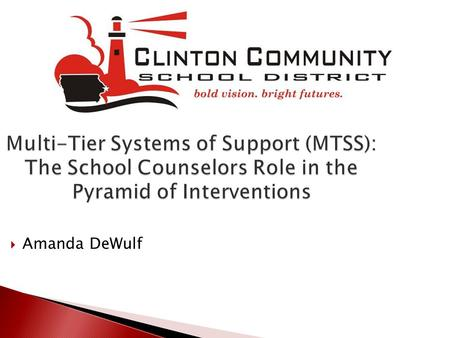 Multi-Tier Systems of Support (MTSS): The School Counselors Role in the Pyramid of Interventions Amanda DeWulf.