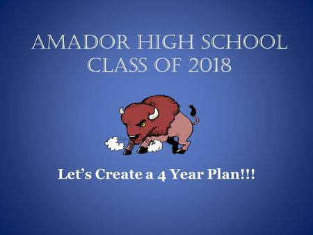 Amador High School Class of 2018 Let's Create a 4 Year Plan!!!