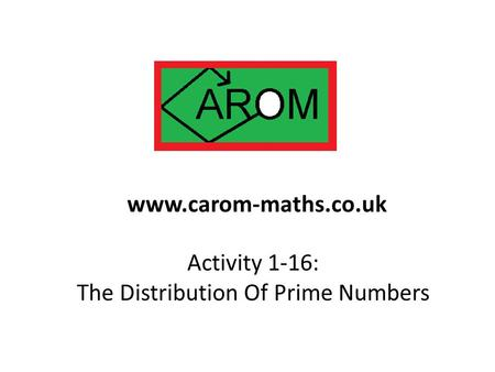 Activity 1-16: The Distribution Of Prime Numbers www.carom-maths.co.uk.