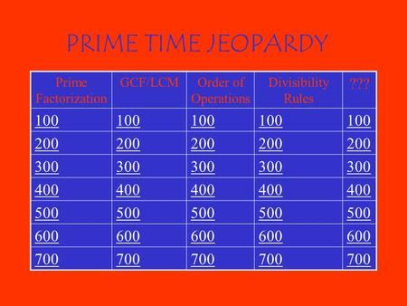 PRIME TIME JEOPARDY Prime Factorization GCF/LCMOrder of Operations Divisibility Rules ??? 100 200 300 400 500 600 700.