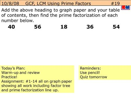 10/8/08 GCF, LCM Using Prime Factors #19 Add the above heading to graph paper and your table of contents, then find the prime factorization of each number.