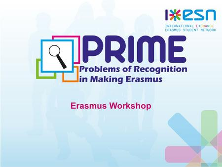 Erasmus Workshop. What is PRIME? Problems of Recognition In Making Erasmus European-wide research project Conducted by ESN with the support of the European.