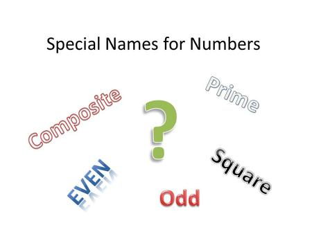 Special Names for Numbers. Odd vs. Even Odd numbers are numbers that cannot be divided evenly. Examples: 1,3,5,7,9….. Even numbers are numbers that can.