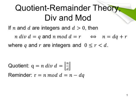 Quotient-Remainder Theory, Div and Mod
