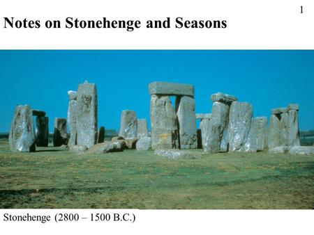 Notes on Stonehenge and Seasons