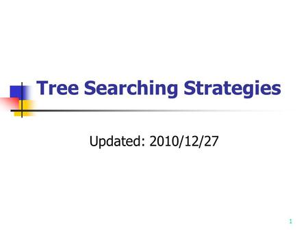 1 Tree Searching Strategies Updated: 2010/12/27. 2 The procedure of solving many problems may be represented by trees. Therefore the solving of these.