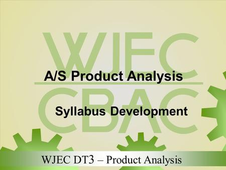 A/S Product Analysis Syllabus Development.