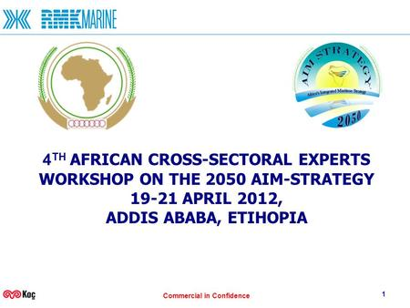 Commercial in Confidence 1 4 TH AFRICAN CROSS-SECTORAL EXPERTS WORKSHOP ON THE 2050 AIM-STRATEGY 19-21 APRIL 2012, ADDIS ABABA, ETIHOPIA.
