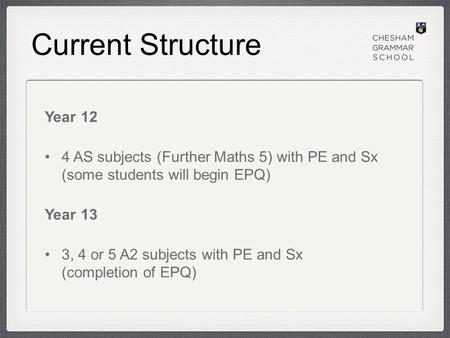 Current Structure Year 12 4 AS subjects (Further Maths 5) with PE and Sx (some students will begin EPQ) Year 13 3, 4 or 5 A2 subjects with PE and Sx (completion.