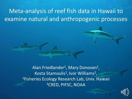 Meta-analysis of reef fish data in Hawaii to examine natural and anthropogenic processes Alan Friedlander 1, Mary Donovan 1, Kosta Stamoulis 1, Ivor Williams.