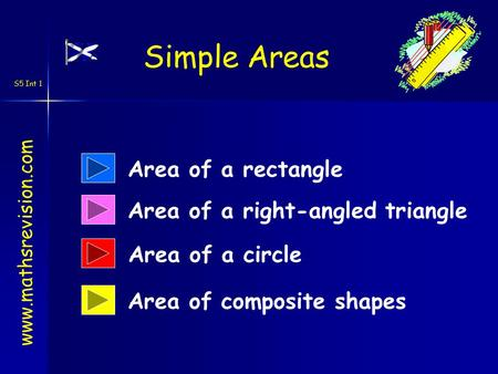 S5 Int 1 Area of a rectangle Area of composite shapes Area of a right-angled triangle www.mathsrevision.com Simple Areas Area of a circle.