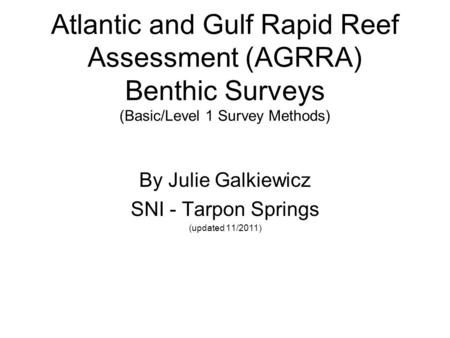 Atlantic and Gulf Rapid Reef Assessment (AGRRA) Benthic Surveys (Basic/Level 1 Survey Methods) By Julie Galkiewicz SNI - Tarpon Springs (updated 11/2011)