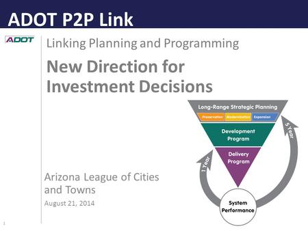 1 Linking Planning and Programming New Direction for Investment Decisions Arizona League of Cities and Towns August 21, 2014 ADOT P2P Link.