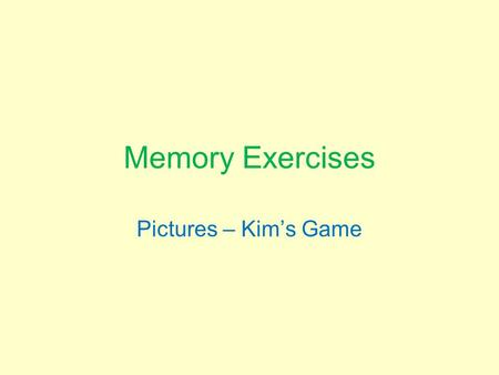 Memory Exercises Pictures – Kim's Game.