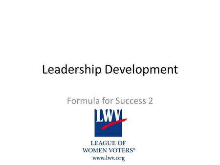 Leadership Development Formula for Success 2.