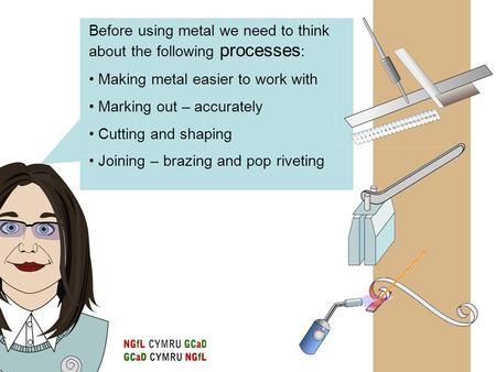 Before using metal we need to think about the following processes : Making metal easier to work with Marking out – accurately Cutting and shaping Joining.