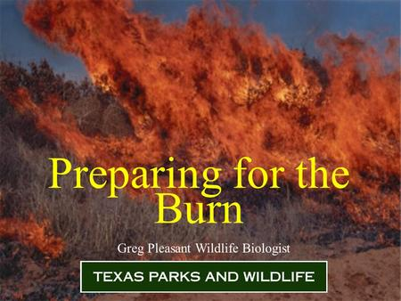 Preparing for the Burn Greg Pleasant Wildlife Biologist.