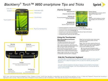 Blackberry ® Torch ™ 9850 smartphone Tips and Tricks ©2011 Sprint. Sprint and the logo are trademarks of Sprint. Research In Motion, the RIM logo, BlackBerry,