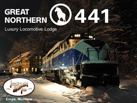 Luxury Locomotive Lodge Essex, Montana. GN 441's interior has been transformed into a luxurious lodging accommodation. 400-year-old antique oak plank.