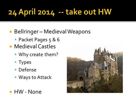 24 April take out HW Bellringer – Medieval Weapons