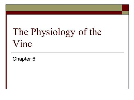 The Physiology of the Vine Chapter 6. Transpiration  Loss of water by the plant  Water required for a normal growing season is 15 to 50 acre-inches.