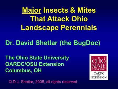 Dr. David Shetlar (the BugDoc) The Ohio State University OARDC/OSU Extension Columbus, OH Major Insects & Mites That Attack Ohio Landscape Perennials ©