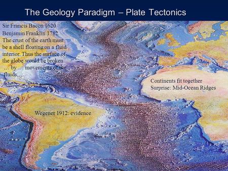 1 The Geology Paradigm – Plate Tectonics Continents fit together Surprise: Mid-Ocean Ridges Sir Francis Bacon 1620 Benjamin Franklin 1782 The crust of.