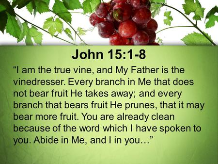 "John 15:1-8 ""I am the true vine, and My Father is the vinedresser. Every branch in Me that does not bear fruit He takes away; and every branch that bears."