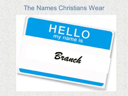 The Names Christians Wear. Beginning With The Root Romans 11:16 -- If the part of the dough offered as firstfruits is holy, then the whole batch is holy;