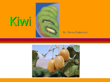 Kiwi By: Devon Paskewich. What is a kiwi? The kiwi is a small oval shaped fruit It has brown hairy skin The flesh (inside) of the fruit is bright green.